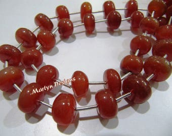 AAA Quality Red Chalcedony Smooth Rondelle Beads, 10 to 12mm Size Beads, Strand 9 inch long,Plain Red Onyx Gemstone Beads,Wholesale Gemstone