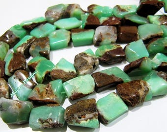 Beautiful Australian Chrysoprase Tumbled Beads , 12 to 18mm Chrysoprase Chunky Nugget Beads , Strand 10 inch long , Free Form Gorgeous Beads