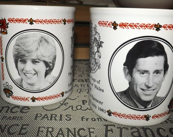 PAIR of vintage (c.1981) commemorative Charles and Diana | Royal Wedding stoneware mugs. Made in England by Kiln Craft.  Etched portraits.