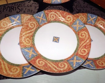 Vintage (c.1997) Corelle | Corning | Corning Ware Sand Art salad plate.  Xs and swirls, blue, orange and yellow geometric.