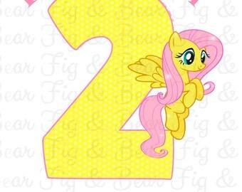 My Little Pony Birthday Shirt Fluttershy Birthday Girl Iron On Transfer Personalized Free
