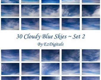 30 cloudy blue sky overlay photo replacements digital skies Set 2