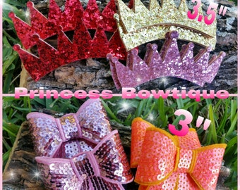 Glitter crowns, diy crowns, crowns,  headband hair clip, minnie mouse ears, bows , bow clips, crown for bows