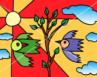 Two birds in flight. Graphic drawing