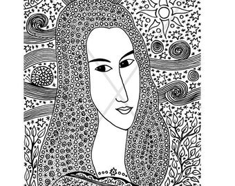 Masterclass: Portrait of a gel pen on the motives of A. Modigliani. Character black-white graphics. Gel pen. Mystical graphics of gel pens