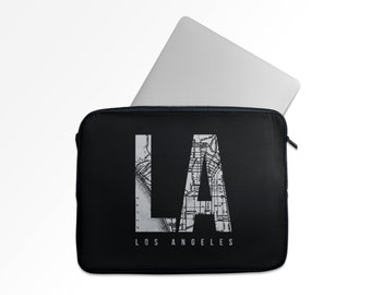 Laptop Case, Los Angeles vintage map, in GREY & BLACK - Hollywood, Soft Zippered Laptop Sleeve , For Macbook etc