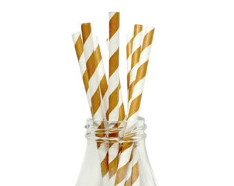 25 Brown Striped Paper Straws, White and Brown Striped Straws, Brown Paper Straws, Brown Party Straws, Brown Party Favor.