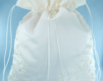 Satin Bridal Wedding Money Bag (#E1D4MB) with Pearl-Embellished Floral Lace for Envelopes, Bridal Purse, and Other Special Occasions