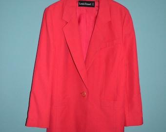 Vintage 80s womens 'Louis Feraud' Salmon Pink blazer jacket  lined  Pure new wool  Size UK 12