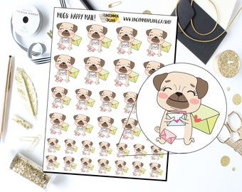 Mugs the Pug Happy Mail Planner Stickers / Pug Stickers / Happy Mail Stickers / Kawaii Dog Stickers / Kawaii Stickers / Cute Dog Stickers