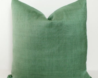 Solid Green Muted Sateen Pillow Cover