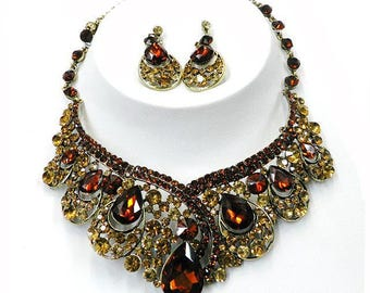 Swarovski Crystal Statement Necklace Set, Stunning Crystal Necklace, Statement Necklace, Prom Jewelry 764-4003