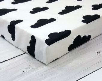 crib sheets, monochrome baby, fitted crib sheet, crib bedding, crib sheet, monochrome nursery, mini crib sheets, bassinet sheet, clouds