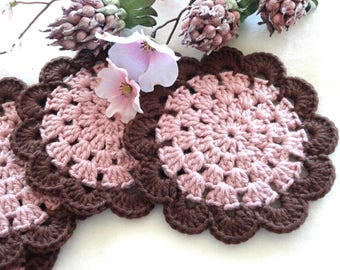Crochet Coasters Handmade Placemat Table linens Kitchen Decor Gift Crochet Doilies Tablecloth Crochet Doily Round Cotton Table Home Decor