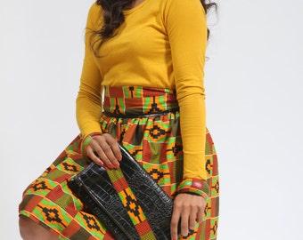 Handmade - Kente skirt set - African print skirt set - African clothing set - Ankara print skirt set - Matching skirt - H Flair