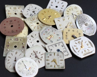 20 Antique Watch Dials Faces, Round Square Watch Face, Vintage Watch Supplies for your steampunk or altered art projects (#WF38)