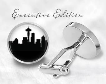 Seattle Cufflinks - Seattle Skyline Cufflinks - Space Needle Cuff Links - PNW Cufflink (Pair) Lifetime Guarantee (S0747)