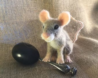 Needle Felted Grey Mouse