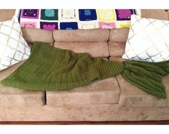 Mermaid Tail Blanket Kids. Ready to Ship Green Bulky Mermaid Blanket Child Size. Handmade Crochet Mermaid Tail Blanket. Ready to Ship