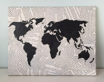 Book Pages World Map Canvas, 11x13 in. Wall Art, Decorative Map Hanging with Book Pages MADE TO ORDER