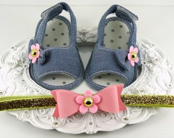 Baby Girl Sandals and Headband Set, Newborn Baby Girl Shoes, Baby Accessories, Shower Gift, Gift for Baby