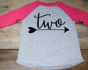 Girls Two Birthday Shirt - Two Arrow Shirt - Two Raglan Shirt - Two Year Old Shirt -  2 Year Old Shirt - Birthday Shirt 2