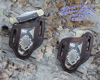 Buffalo and Python Snake Knife Sheath.... Buck 110 and other large folding knives