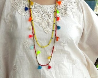 FREE SHIPPING! Necklace/Tassel & bead twin Long Multi necklaces/Trending jewellery/Boho necklace/seed bead long necklace/Beach jewellery