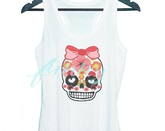Bow skull Sugar skull shirt Funny skull tank top Grey tunic dress or White tank **racerback tank top **women tank top size S M L XL