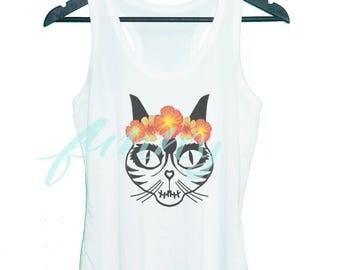 Cat skull tank top Cat skeleton Flower cat Animal pet Grey tunic dress or White tank **racerback tank top **women tank top size S M L XL
