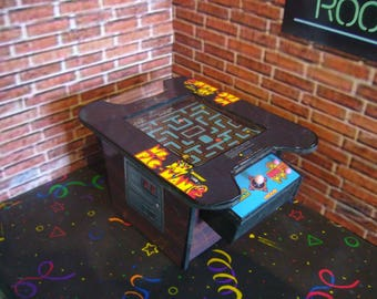Mrs Pac Man Cocktail Table Miniature Arcade Machine Model~ 1/12th 1/6th Scale