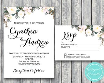 Custom Wedding Invitation Set, Wedding Invitation Printable, White Floral Engagement Party Invitation, Invitation Suite WD69 TH21 WI15