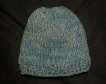 White and Blue Baby Hat, Snuggly Baby Hat, Handmade Hat, Baby Hat, Knitted Baby Hat
