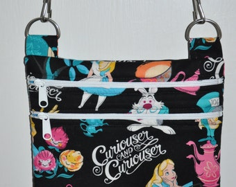 New! Disney Alice In Wonderland- Fabric Quilted Cross Body Messenger Bag - Tote - Shoulder Bag