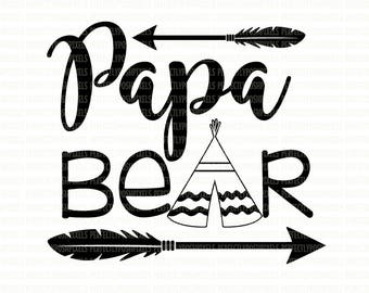 Papa Bear SVG Files, Printable Clipart, Cut File, Papa Bear Tshirt, SVG files for Cricut, digital Scrapbooking, SVG Files for Silhouette