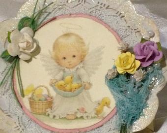 Premade Handmade Easter Easel Card Vintage Children