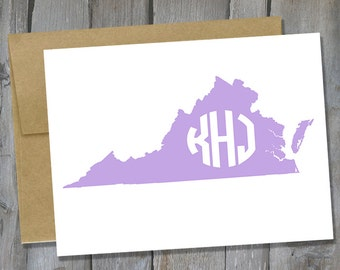 Personalized Virginia Monogram Notecard Set of 12 - State Note Card Set - Customized Notecards