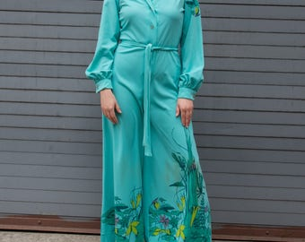Vintage Button-Front Turquoise Jumpsuit with Hand Silk Screened Print and Rhinestone Accents, Belt, and Flared Bottom