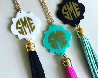 Monogram necklace -- name neckace -- tassel necklace -- monogram jewelry -- name jewelry -- personalized jewelry - acrylic monogram necklace