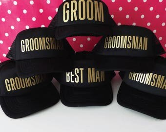 Bachelor Party Hats. Team Groom Hats. Groom Hat. Best Man Hat. Groomsman Hat. Stag Party Hats. Snapback Trucker Caps.