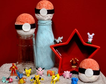 Set of 3! Pokemon Bath Bombs- Surprise Pokemon Figure Inside Each One!