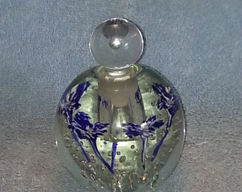 Perfume Bottle - Art Glass - Floral Motif