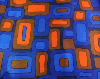 Mid century silky fabric, mod dress or blouse fabric, synthetic, abstract, 60s,  dark blue and orange - Priced per metre