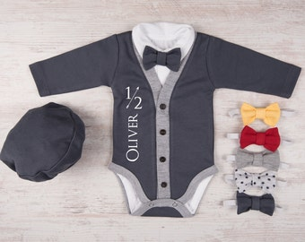 HALF BIRTHDAY Personalized Baby Boy Graphite Gray Cardigan, Bodysuit, Hat & Bow Tie Set, 1/2 Birthday Boy Outfit, Baby Boy Photo Props