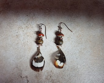 6 Feather, wood bead and Czech glass dangle earrings with copper ear wires, boho, southwest, artisan, rustic