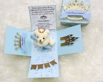 teddy bear theme baby shower invitation. explosion box, Baby shower invitations
