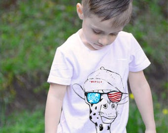 Stars and stripes giraffe kids tshirt, 4th of July, Fourth of July, independence day, patriotic, red white and blue, American Flag, merica