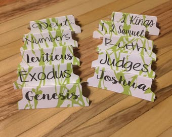 Bible tabs, laminated stickers, guide