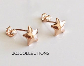 Tiny  Rose Gold Star Stud Earrings