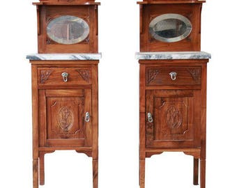 19th Century Victorian Walnut & Marble Nightstands - A Pair
